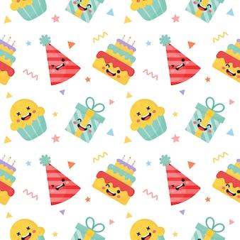 Cute funny party celebration seamless pattern
