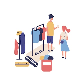 Cute funny people selling and buying stylish clothes at outdoor flea market, summer garage sale. buyer, seller and apparel hanging on rack at street rag fair. flat cartoon vector illustration.