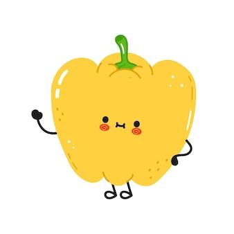 Cute funny pepper waving hand character