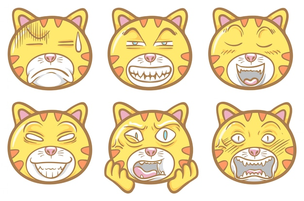 Cute and funny pet animal cat emoticons illustration set