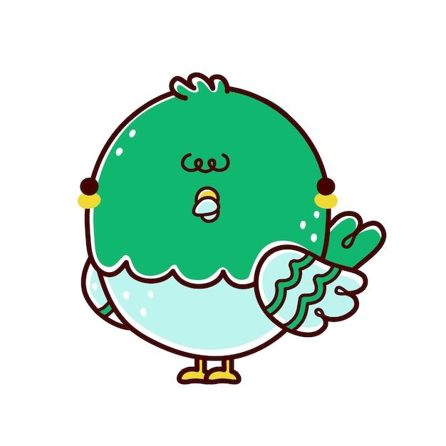 Симпатичный смешной голубь птица персонаж. плоская линия мультяшныйа каваи значок иллюстрации персонажа. изолированные на белом фоне. голубь, концепция характера голубя