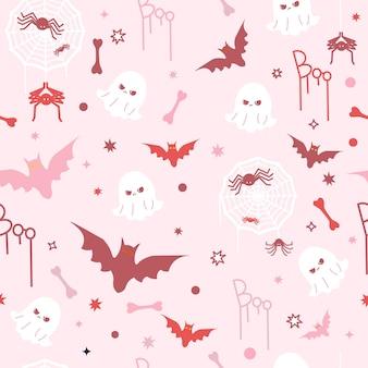 かわいい面白いピンクのハロウィーンのコンセプトのシームレスなパターン