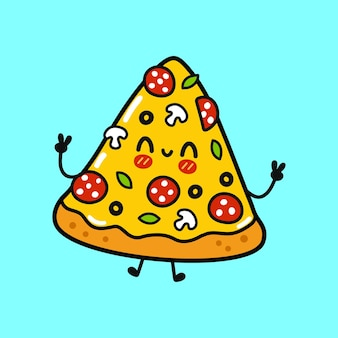 Cute funny pizza character