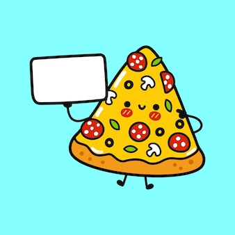 Милая смешная пицца с плакатом