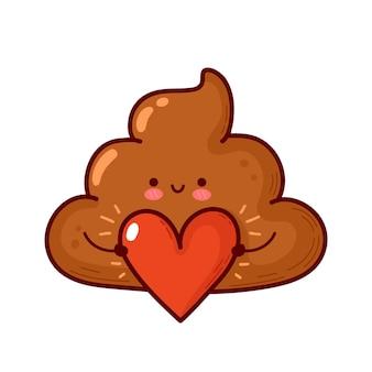 마음으로 귀여운 재미 있는 똥. 해피 발렌타인 데이 카드입니다. 벡터 플랫 라인 만화 귀여운 캐릭터 그림 아이콘입니다. 발렌타인 데이 똥 개념입니다. 흰색 배경에 고립