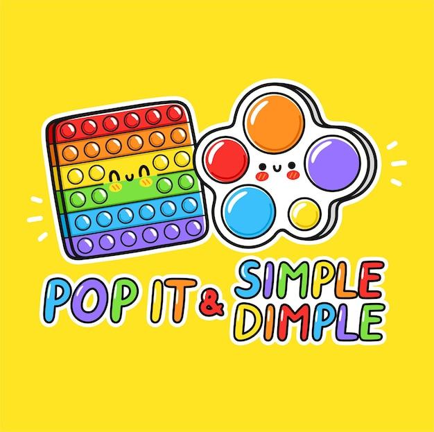 Симпатичный забавный pop it и простой дизайн логотипа сенсорной игрушки с ямочками.