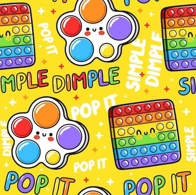 Симпатичный забавный pop it и простой дизайн сенсорной игрушки с ямочками. вектор рисованной мультяшный каваи символ иллюстрации значок. поп, поп, простая игрушка с ямочками бесшовные модели каракули концепции
