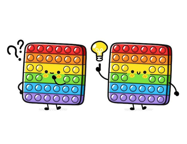물음표와 아이디어 전구가있는 귀여운 재미있는 팝 it fidget 감각 장난감
