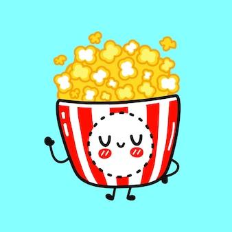 Cute funny popcorn waving hand character