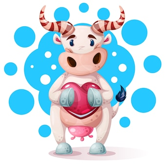 Cute, funny, pretty cow characters with heart.