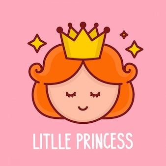 Cute funny princess girl  face.cartoon character illustration.design for child card,t-shirt. isolated on white background.cute little princess face with crown and stars concept