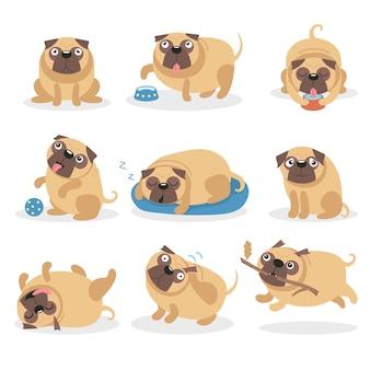 かわいい面白いパグ犬セット、さまざまなポーズや状況の漫画イラストの犬