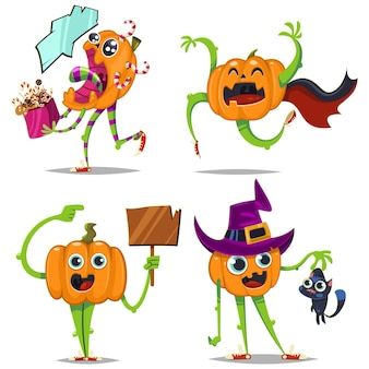 Cute and funny pumpkins with different emotions vector cartoon character set isolated on white background. holiday illustration for halloween.