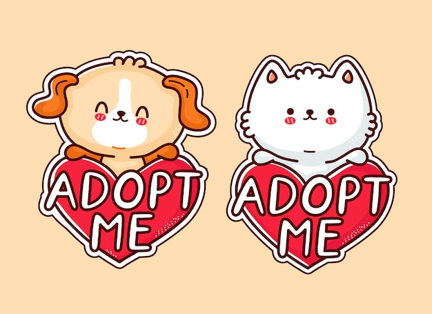 Cute funny puppy dog and cat hold heart sign adopt me.