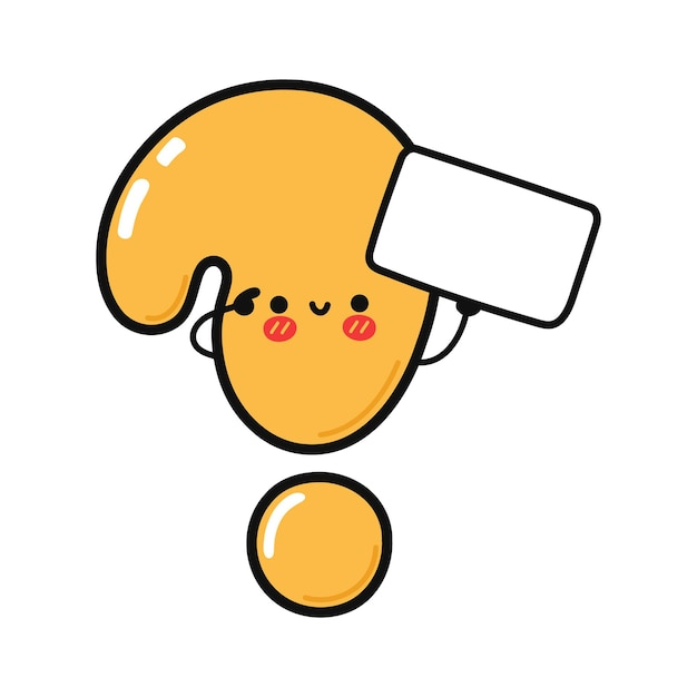 Cute funny question mark with poster
