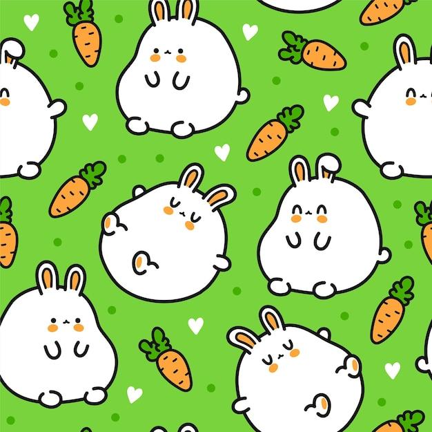 귀여운 재미 토끼 캐릭터 완벽 한 패턴입니다. 벡터 손으로 그린 만화 귀여운 캐릭터 그림 아이콘입니다. 귀여운 토끼, 토끼, 만화 원활한 패턴 개념