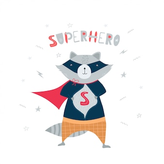 Cute, funny raccoon in superhero costume
