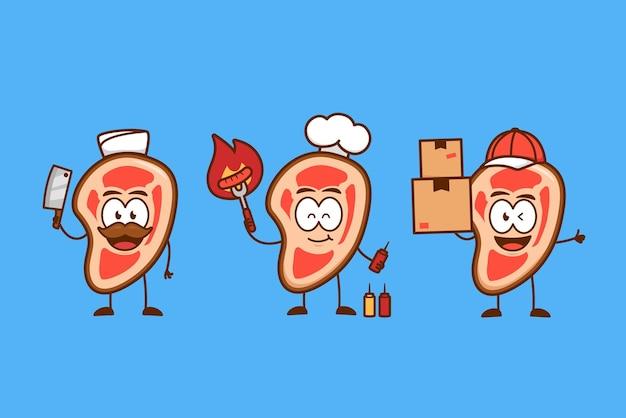 정육점, 요리사, 바베큐 요리사 및 배달 서비스 택배로 설정된 귀여운 재미있는 생고기 스테이크 만화 캐릭터 마스코트 활동
