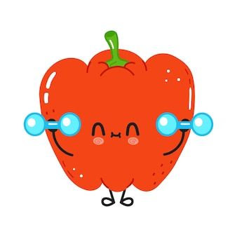 Cute funny red pepper character