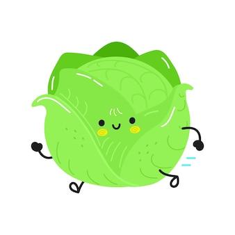 Симпатичная смешная бегущая капуста