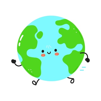 Cute funny running planet earth