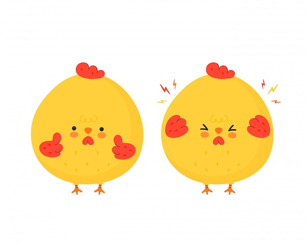 Милый смешной грустный и счастливый куриный петух. дизайн значка иллюстрации персонажа из мультфильма. изолированный