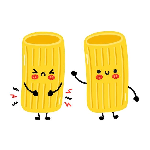 かわいい面白い悲しいと幸せなマカロニパスタ麺のキャラクター。ベクトル手描き漫画カワイイキャラクターイラスト。白い背景で隔離。かわいいマカロニ麺パスタ漫画マスコットコンセプト