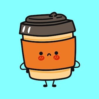 Милый забавный грустный кофейный персонаж