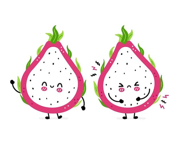 Cute funny sad and happy dragon fruit
