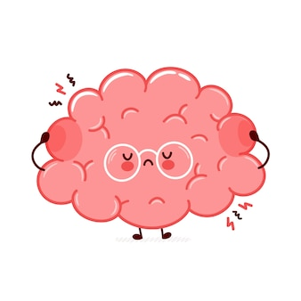 Cute funny sad human brain organ character. flat line cartoon kawaii character illustration icon. isolated on white background. brain organ stress character concept