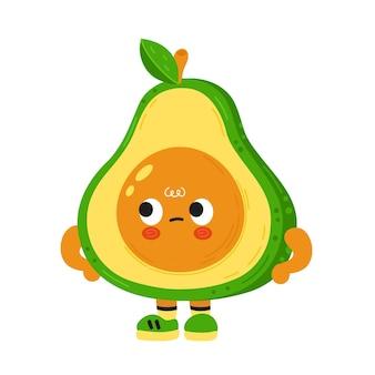 Cute funny sad irritated avocado with face. cartoon kawaii
