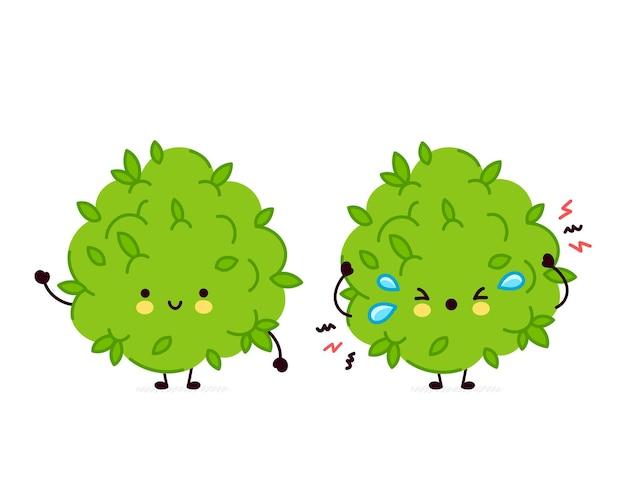 Cute funny and sad marijuana weed bud character.
