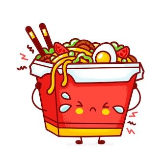 Cute funny sad wok noodle box character