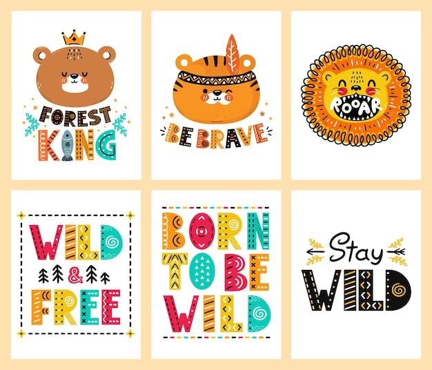 かわいい面白いスカンジナビアのポスター、tシャツプリントセットコレクション。ベクトルスカンジナビアスタイルの漫画のキャラクターイラスト。熊、虎、ライオンのキャラクター、引用保育園のtシャツ、カード、ポスタープリントセットのコンセプト