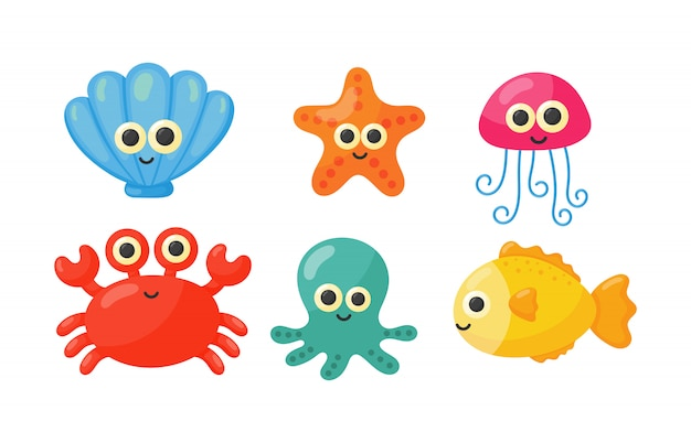 Cute funny sea and ocean animals cartoon isolated