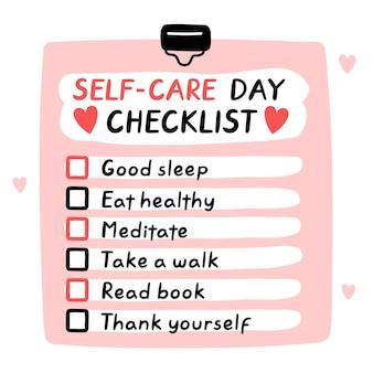 Симпатичный забавный контрольный список на день самообслуживания, чтобы сделать список контрольный список Premium векторы