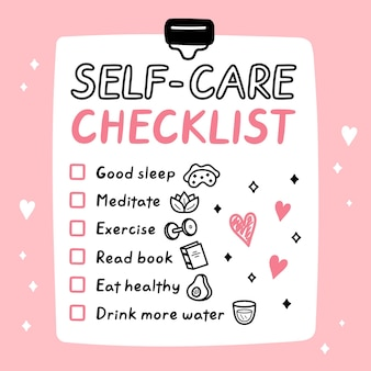 Cute funny selfcare to do list, checklist.