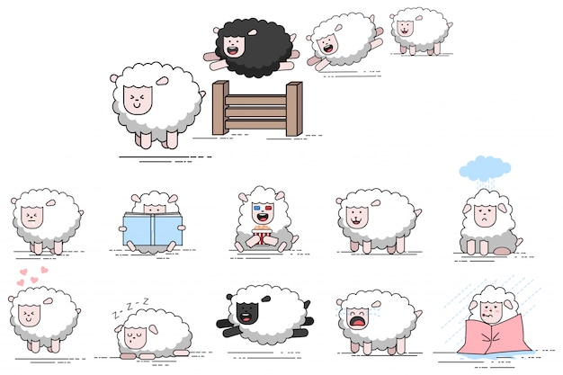 Cute funny sheep vector cartoon character. set of flat farm lambs icons isolated on white background.