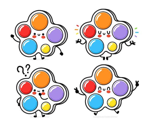 귀여운 재미 간단한 보조개 세트 컬렉션입니다. 벡터 손으로 그린 만화 귀여운 캐릭터 그림 아이콘입니다. 흰색 배경에 고립. 간단한 보조개 낙서 문자 번들 개념