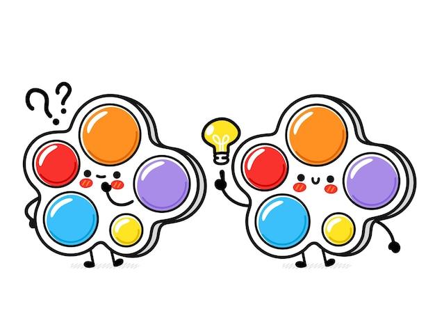 물음표와 아이디어 전구가 있는 귀엽고 재미있는 간단한 보조개