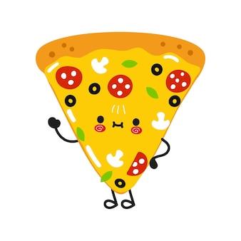 손을 흔드는 귀여운 피자 조각
