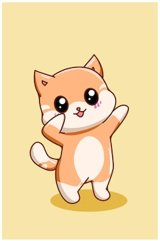 Cute and funny small cat cartoon illustration
