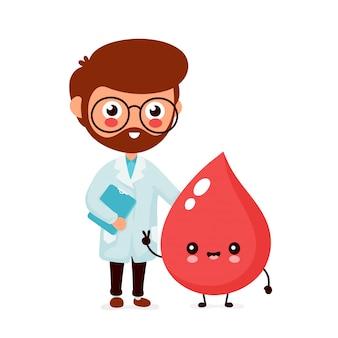 かわいい面白い笑顔医師血液学者と幸せな血の滴。健康管理