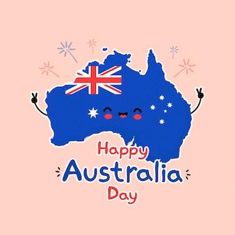 귀여운 재미 웃는 행복 한 호주지도 및 플래그 문자.