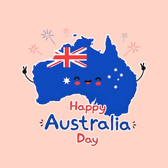 Cute funny smiling happy australia map and flag character.