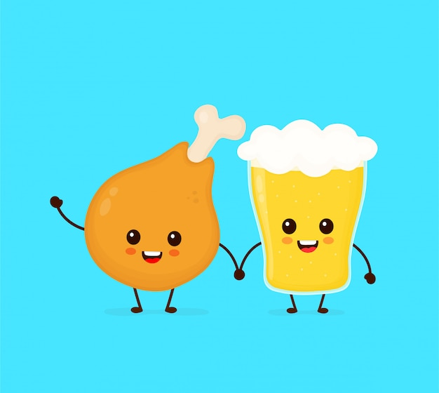 Cute funny smiling happy chicken leg and glass of beer. flat cartoon character illustration icon . fast food, cafe,bar,pub menu, chicken leg and glass of beer