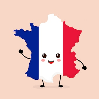 Cute funny smiling happy france map and flag character.