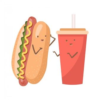귀여운 재미 웃는 행복 핫도그와 소다수 컵. 플랫 만화 귀여운 캐릭터 일러스트입니다.