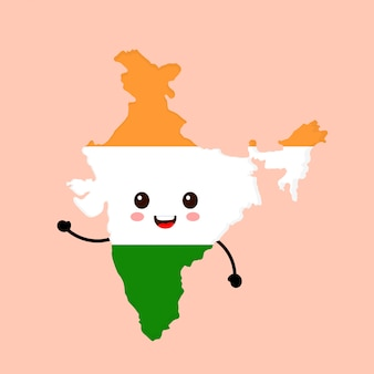 Cute funny smiling happy india map and flag character.