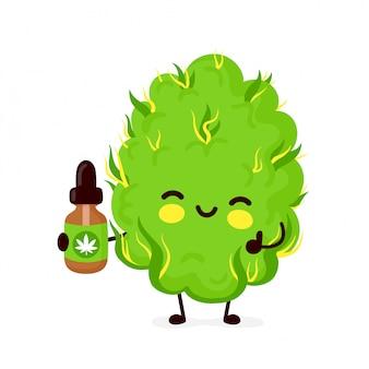 かわいい面白い笑顔幸せなマリファナの雑草の芽と大麻油。フラット漫画キャライラスト。白い背景に分離されました。雑草の芽、マリファナ、医療用大麻オイルのコンセプト